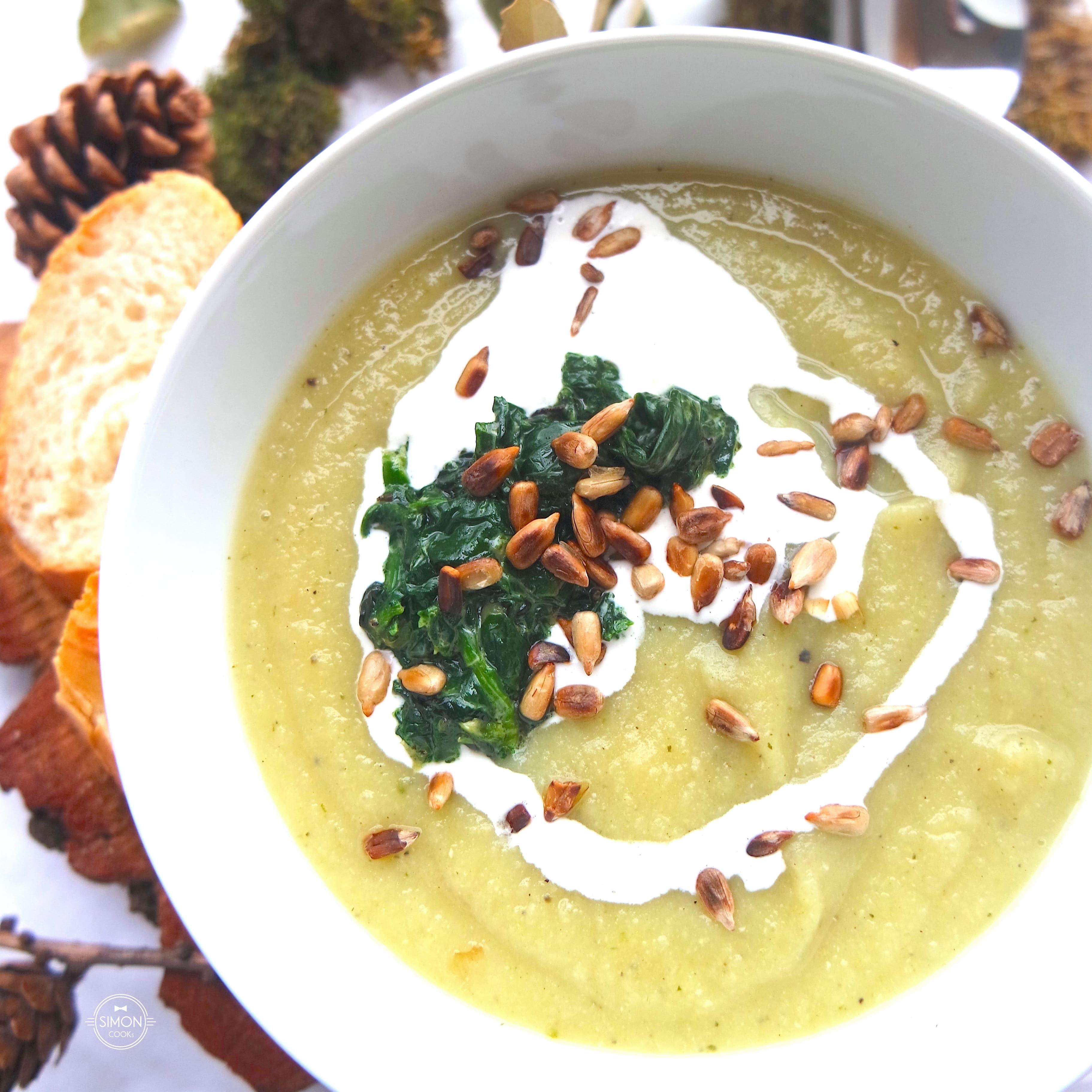 zupa krem z białych warzyw simon cooks pietruszka seler słonecznik szpinak