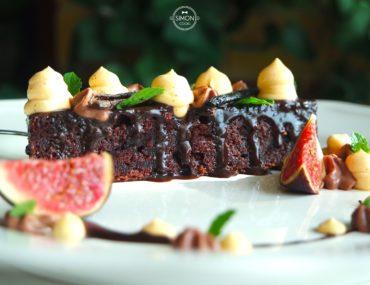 czekoladowe brownie z kremem dyniowym i czekoladowym z figą figa krem czekolada dynia szymon czupkiewicz simon cooks masterchef
